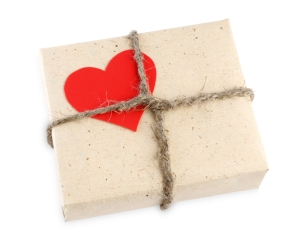 Valentine's Day gift box isolated on white background